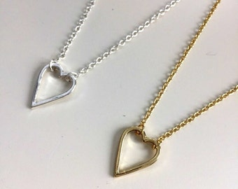 valentine's day heart necklace | gold or silver plated | i love you