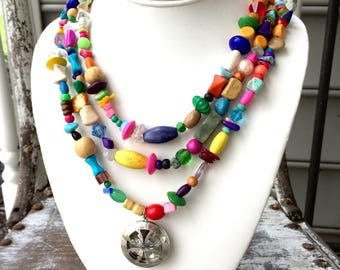 Triple Layer Essential Oil Necklace, Essential Oils Necklace, Mixed Bead Necklace