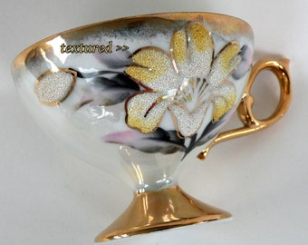 Simple Floral Design Teacup and Saucer- Yellow and Gray Floral Arrangement Base Raised Textured- Numbered Hand-painted 24KT