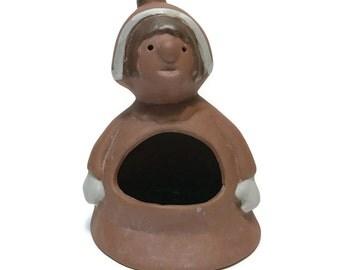 Vintage Stoneware Designs West SDW figural candle holder, or planter Pottery Elf or pixie, modernist design, mid century votive tea lights