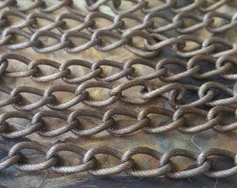 2FT 8mm Etched Deco Ornate Brass Vintage Patina Chain