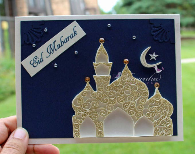 Handmade Ramadan Mubarak Greeting Card Set of 10  with  Paper Quilling Eid night scene original design Reserved for Mehwish