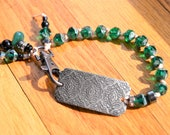 HOLD for MICHELE Emerald Czech Beads  Pewter Focal Clip Bracelet Hand Knotted