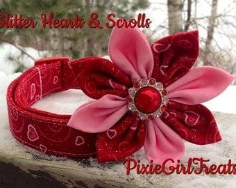 Hearts Dog Collar, Glitter Dog Collar, Scrolls Dog Collar, Red Dog Collar, Dog Collar, Red Pink Dog Collar, Dog Collar for Girl