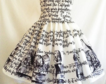 Alice In Wonderland Dress, Literature dress, Book Dress, Writing Dress, Alice Dress, Uk, Rooby Lane