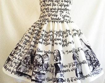 Alice In Wonderland Dress, Literature dress, Book Dress, Writing Dress, Alice Dress, Uk, Rooby Lane