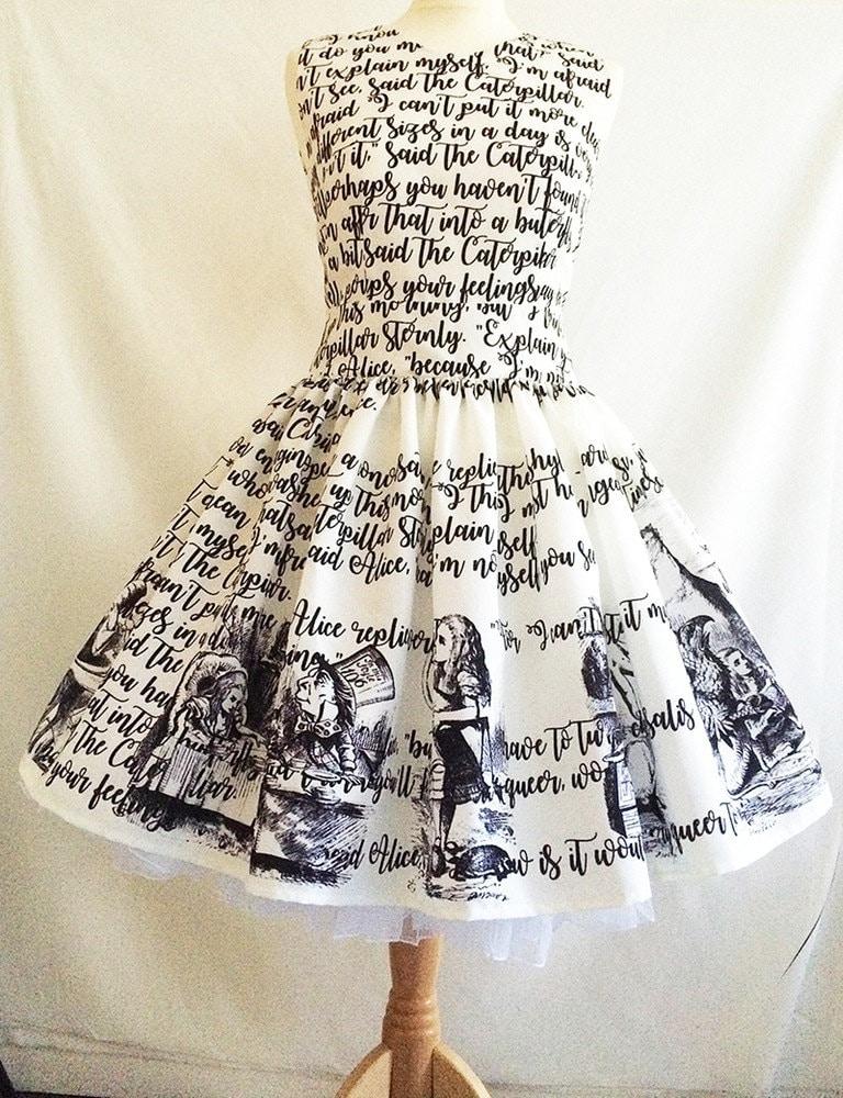 Book Cover Watercolor Dress : Alice in wonderland dress literature book