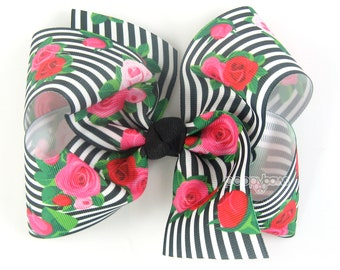 """Extra Large Hair Bow, Black Striped Floral Hair Bow, 6"""" 6 inch hair bows, big bow, giant bow, extra large bow, rose hair bows for girls xl"""