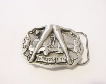 Truckers Only Belt Buckle Pewter Made in England. free US shipping  - FL