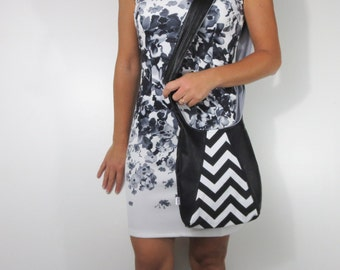 leather and chevron purse in classic black and white. choose medium or large purse shoulder or cross body bag.