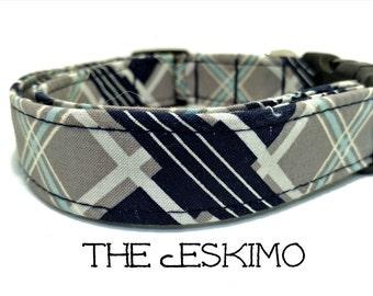 Dog Collar, Plaid Dog Collar, The Eskimo, Preppy Dog Collar, Blue Dog Collar, Dog Gift, Boy Dog Collar, Dog Leash,  Matching Leash Available