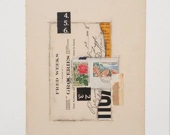 Original collage, vintage paper collage, ephemera collage