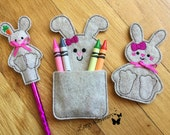 Felt Easter Gift Set, Machine embroidery Crayon holder, Finger Puppet, and Pencil Topper w Pencil, Easter Gifts, Kids