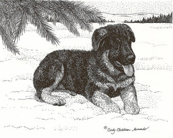 "German Shepherd Puppy Print ""Snowy Dreams"" by Cindy Alvarado"