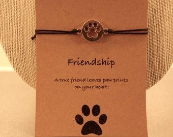Paw Print Bracelet: Paw Prints on the Heart Bracelet, Dog Bracelet, Dog Jewelry, Dog Lover, Friendship Bracelet, Bestfriends, Wish Jewelry