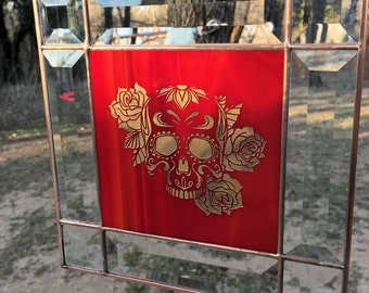 Contemporary Stained Glass Panel Suncatcher - Etched Rose Rose Sugar Skull (PLG086)
