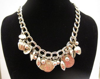 Silver Tone Metal Faux French Coins Necklace