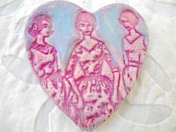 Heart Brooch, Pink Jewelry, Feminist Brooch, Girl Power, Retro Pin, Mad Men, Party Girls, Ceramic Pin, Pottery Pin, Mothers Day, Pink Pin,