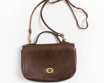 Vintage COACH Purse - Brown Leather Crossbody Designer Hand Bag 80s / 90s