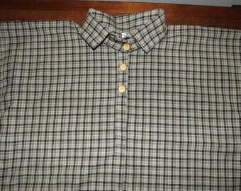 Mens 2XL Civil War Black Plaid Homespun Cotton Issue Shirt in stock