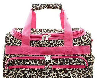 "Personalized Monogram 13"" Cheetah Duffle Bag Pink Trim Gym Carry On"