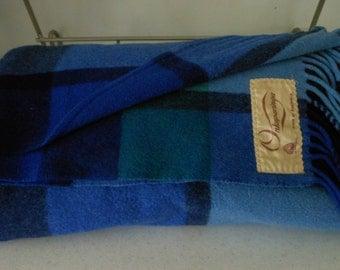 ONKAPARINGA Wool Blanket AUSTRALIA Blues Greens Vintage Throw