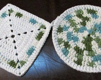 Crocheted Hot Pads or Pot Holders, set of 2 ~ White with blue and shades of green