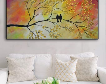 Original Landscape Birds Painting, Gold  Impasto Textured Large Painting, Love Birds, metallic gold, sunset, love birds on sunset original