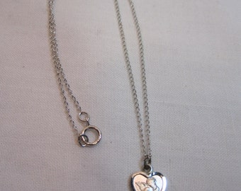 Etched Sterling Heart with Angel Pendant