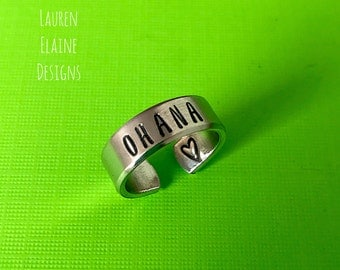 Ohana- Hand Stamped Aluminum Ring- You Choose the Font