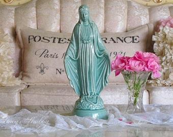 Beautiful Vintage Aqua VIRGIN MARY STATUE, Shabby Chic, Religious, Jesus, Altar Statue