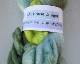 Hand-dyed Merino wool/silk blend fibres