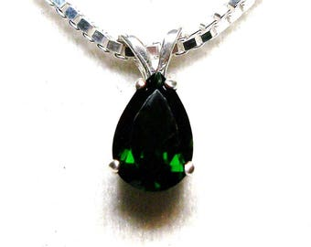 """Chrome diopside,  diopside pendant, green necklace, green jewelry, green, anniversary,  """"Spring Moss"""""""