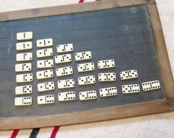 Domino Set Plastic 1 1/8 inch White Black-incised Dominoes 1950s