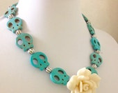 Skull Necklace White Rose Sugar Skull Day of the Dead Necklace Rockabilly Jewelry Blue