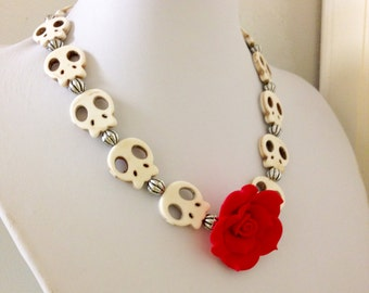 Skull Necklace Red Rose Sugar Skull Day of the Dead Necklace Rockabilly Jewelry