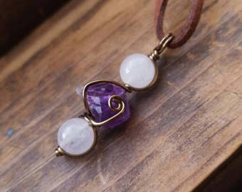 Quartz and Raw Amethyst Wire Wrapped Pendant Positivity
