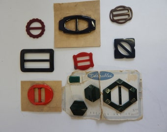 10 pc Lot Vintage Bakelite, Celluloid, Plastic, Metal Buckles