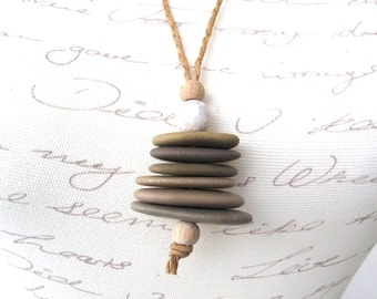 Stacked Stone Necklace Rock Cairn Jewelry Mediterranean Pebble Pendant Necklace Adjustable Hemp Cord Zen Jewelry BALANCE