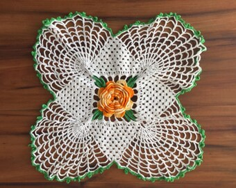 Raised Center Variegated Yellow Flower Crochet Doily with Green on White