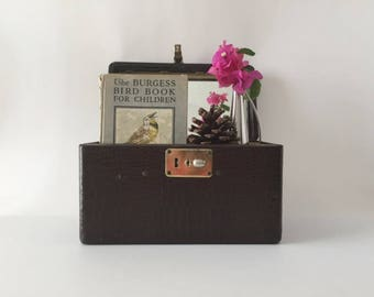 1940's Vanity Train Case, Faux Reptile Look