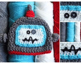 Newborn, Infant, Child Size Crochet Robot Hat