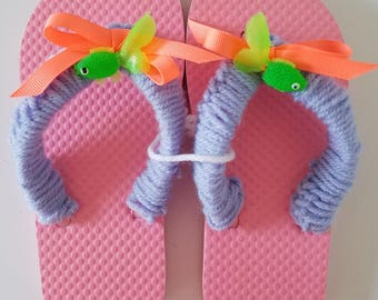Crocheted Girls Flip Flops Pink With Fish