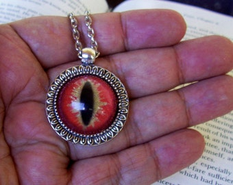 Dragon Eye Pendant (N641) Necklace, Orange and Gold Sparkle, Hand Painted Glass Eye, Silver Hardware