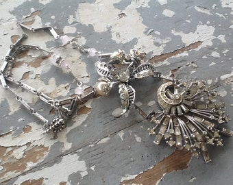 Rhinestone Assemblage Necklace Art Deco Repurposed Jewelry Upcycled On Sale