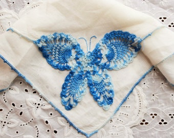 Crochet hankie pastel butterfly / retro something blue ladies gift / white linen handkerchief with fancy lace corner
