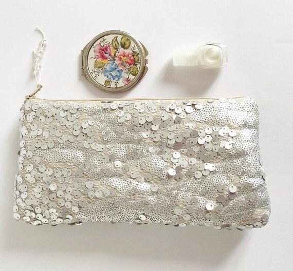 Wedding Clutch Silver Sequins, Glam Clutch for Bride, Silver Nude Bridal Purse, Statement Purse