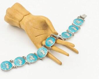 Siam Sterling Silver Enamel Bracelet Vintage Turquoise Blue Nielloware