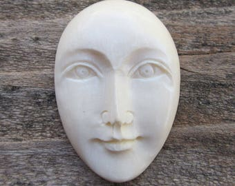 Carved Bone Face Cabochon