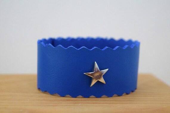 Blue cuff,blue bracelet,stars bracelet,stars cuff,leather cuffs,blue leather cuff,leather bracelet,leather cuff,leather stars cuff,kawaii